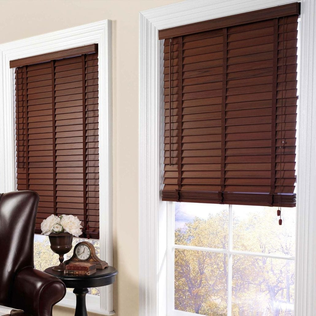 brown wooden blinds