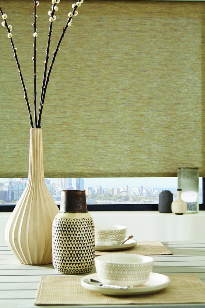 Roller woven filter blinds